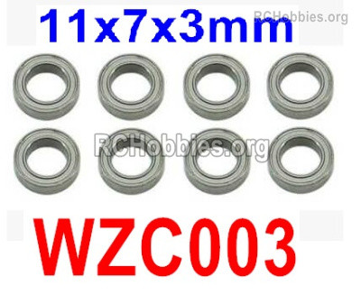 Subotech BG1525 Ball bearing Parts. WZC003. With a size of 11X7X3MM. Total 8pcs.